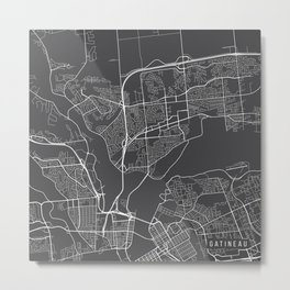 Gatineau Map, Canada - Gray Metal Print
