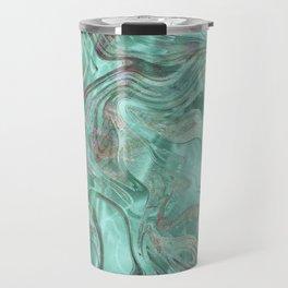 Mint Gem Green Marble Swirl Travel Mug