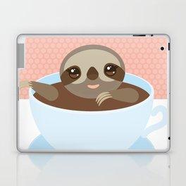Sloth in a blue cup coffee, tea, Three-toed slot Laptop & iPad Skin