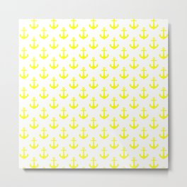 Anchors (Yellow & White Pattern) Metal Print