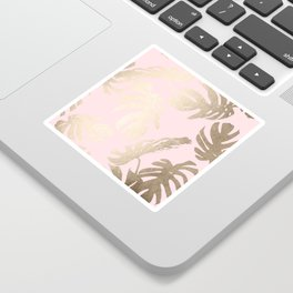 Simply Tropical Palm Leaves White Gold Sands on Flamingo Pink Sticker