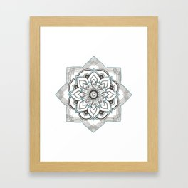 hand drawing geometric mandala with turquoise ink Framed Art Print