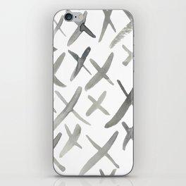 Watercolor X's - Grey Gray iPhone Skin