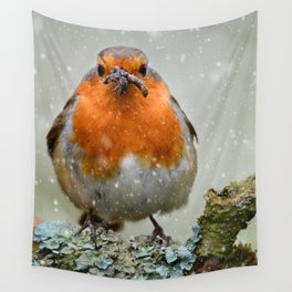 Chubby Winter Robin Wall Tapestry