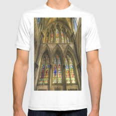 Rochester Cathedral Stained Glass Windows Art White MEDIUM Mens Fitted Tee