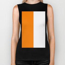 White and Orange Vertical Halves Biker Tank