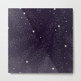 Universe with planets and stars seamless pattern, cosmos starry night sky 005 Metal Print