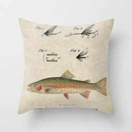 Vintage Rainbow Trout Fly Fishing Lure Patent Game Fish Identification Chart Throw Pillow