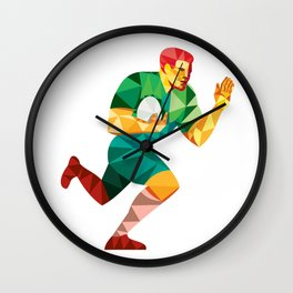 Rugby Player Fend Off Low Polygon Wall Clock