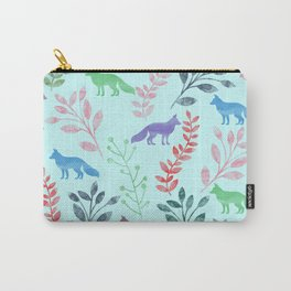 Watercolor Floral & Fox Carry-All Pouch