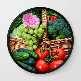 Vegetable composition in the summer garden Wall Clock