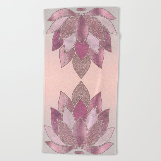 Elegant Glamorous Pink Rose Gold Lotus Flower Beach Towel
