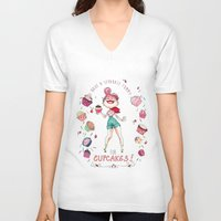 cupcakes V-neck T-shirts featuring Cupcakes by Meldoodles