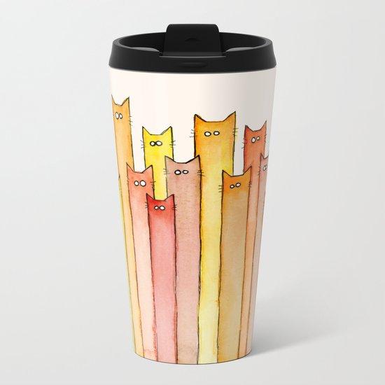 Cats Autumn Colors Pattern Whimsical Cat Orange Red Yellow Animals Metal Travel Mug