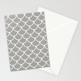 Grey Fish Scales Pattern Stationery Cards