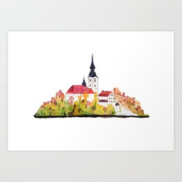 Slovenia Bled Lake pilgrimage church Art Print