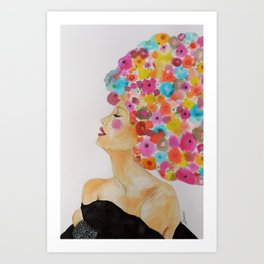 camelia in black Art Print