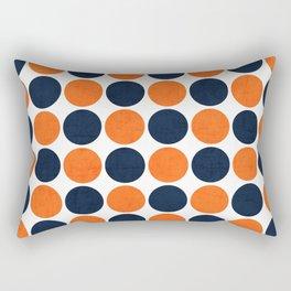 navy and orange dots Rectangular Pillow