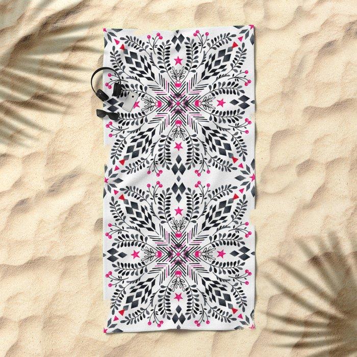 Winter Graphic Folk Art Pattern Beach Towel