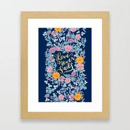 Love Never Fails -  1 Corinthians 13:8 (navy) Framed Art Print