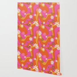 Groovy 60's and 70's Flower Power Pattern Wallpaper