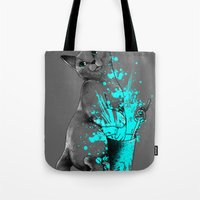 russian Tote Bags featuring Russian Blue by Anwar Rafiee