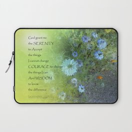 Serenity Prayer Bachelor's Buttons Laptop Sleeve