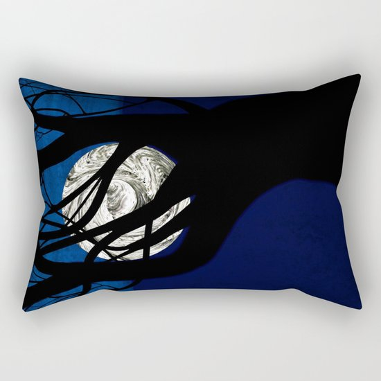 Moon Visits Tree Rectangular Pillow