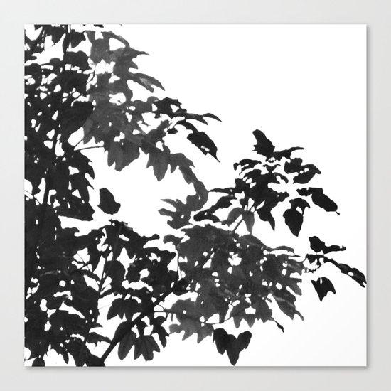 Leaves Silhouette - Black & White Canvas Print