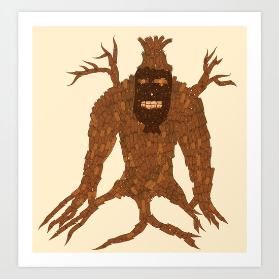 Tree Stitch Monster Art Print