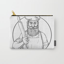 Hipster Baker with Full Beard Holding a Rolling Pin Front View Drawing Black and White Carry-All Pouch