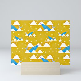 Sea unicorn - Narwhal yellow Mini Art Print