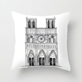 Notre Dame Sketch Throw Pillow