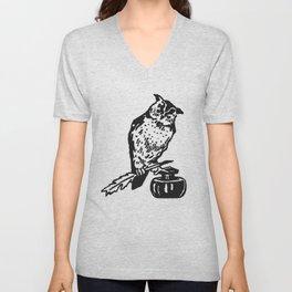 So Wise Black Owl Unisex V-Neck