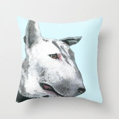 Bullterier, printed from an original painting by Jiri Bures Throw Pillow