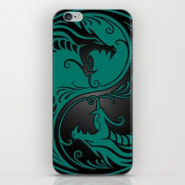 Teal Blue and Black Yin Yang Dragons iPhone Skin