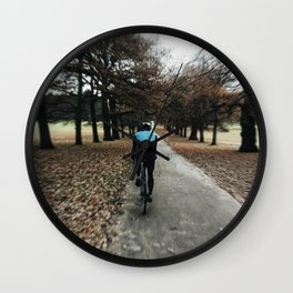 cycling in wollanton park Wall Clock