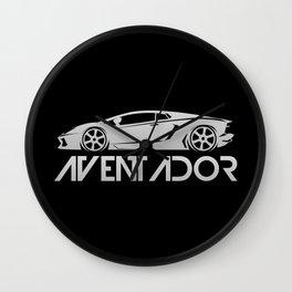 Lamborghini Aventador - silver - Wall Clock