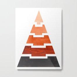 Burnt Sienna Aztec Pyramid Triangle Egypt Minimalist Mid Century Modern Watercolor Geometric Pattern Metal Print