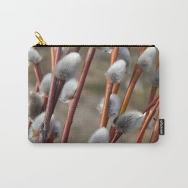 Pussy willow branches with background on the branches of trees in spring blossom Carry-All Pouch