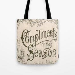 Season's Greetings Shabby Chic French Country Modern Vintage Christmas Typography Tote Bag