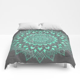 Boho turquoise watercolor floral mandala on grey cement concrete Comforters
