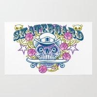 skateboard Area & Throw Rugs featuring Skateboard print by Komiksar