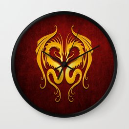 Yellow and Red Twin Tribal Dragons Wall Clock