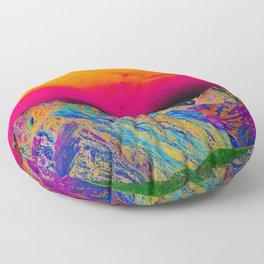 California's Sierra Mts-Digital Art, Green & Purple Floor Pillow