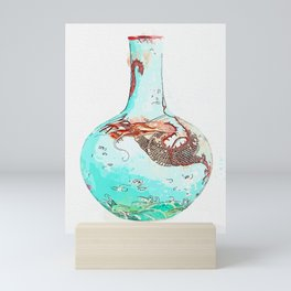 TURQUOISE-GROUND YANGCAI 'DRAGON' VASE, TIANQIUPING SEAL MARK AND PERIOD OF QIANLONG watercolor by A Mini Art Print