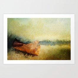 BIRCH BARK CANOE AT REST Art Print
