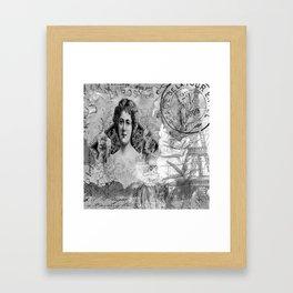 La Rosa Collage - Black and White Framed Art Print