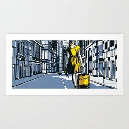 Girl walking on a London street Art Print