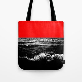 Black Wave w/Electric Red Horizon Tote Bag